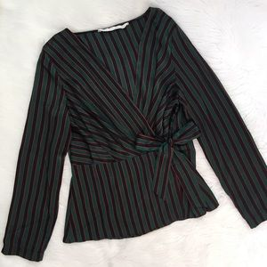 Zara Green and Red Striped Wrap Top Shirt